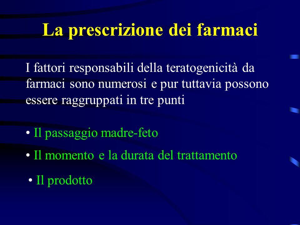 La prescrizione dei farmaci Il passaggio attraverso la placenta viene influenzato da: la liposolubilità: i farmaci lipofili diffondono prontamente la ionizzazione del farmaco (rallenta il transfert) la dimensione della molecola il flusso sanguigno placentare.