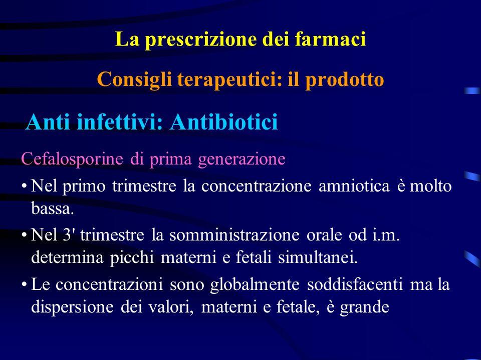 La prescrizione dei farmaci Anti infettivi: Antibiotici Consigli terapeutici: il prodotto Cefalosporine di prima generazione Nel primo trimestre la concentrazione amniotica è molto bassa.