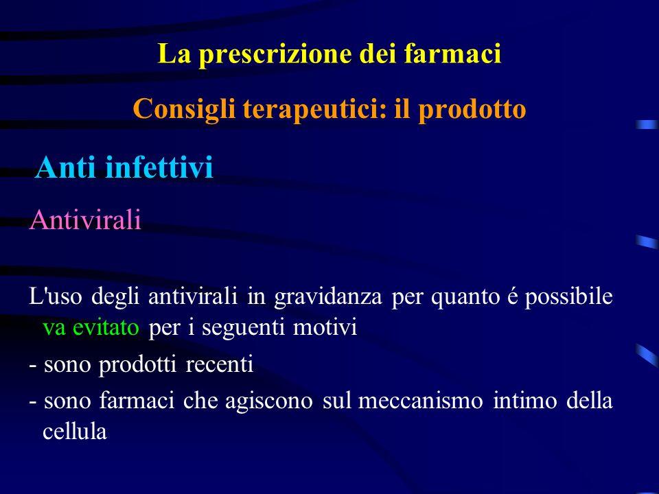 La prescrizione dei farmaci Anti infettivi Consigli terapeutici: il prodotto Antivirali L uso degli antivirali in gravidanza per quanto é possibile va evitato per i seguenti motivi - sono prodotti recenti - sono farmaci che agiscono sul meccanismo intimo della cellula