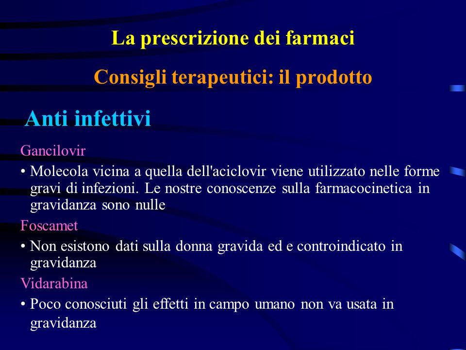 La prescrizione dei farmaci Anti infettivi Consigli terapeutici: il prodotto Gancilovir Molecola vicina a quella dell aciclovir viene utilizzato nelle forme gravi di infezioni.