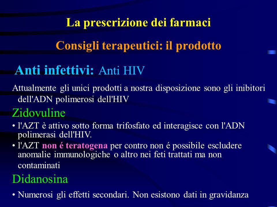 La prescrizione dei farmaci Anti infettivi: Anti HIV Consigli terapeutici: il prodotto Attualmente gli unici prodotti a nostra disposizione sono gli inibitori dell ADN polimerosi dell HIV Zidovuline l AZT è attivo sotto forma trifosfato ed interagisce con l ADN polimerasi dell HIV.