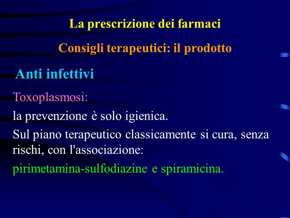 La prescrizione dei farmaci Anti infettivi Consigli terapeutici: il prodotto Toxoplasmosi: la prevenzione è solo igienica.