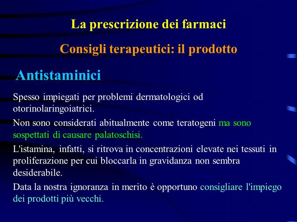 La prescrizione dei farmaci Antistaminici Consigli terapeutici: il prodotto Spesso impiegati per problemi dermatologici od otorinolaringoiatrici.
