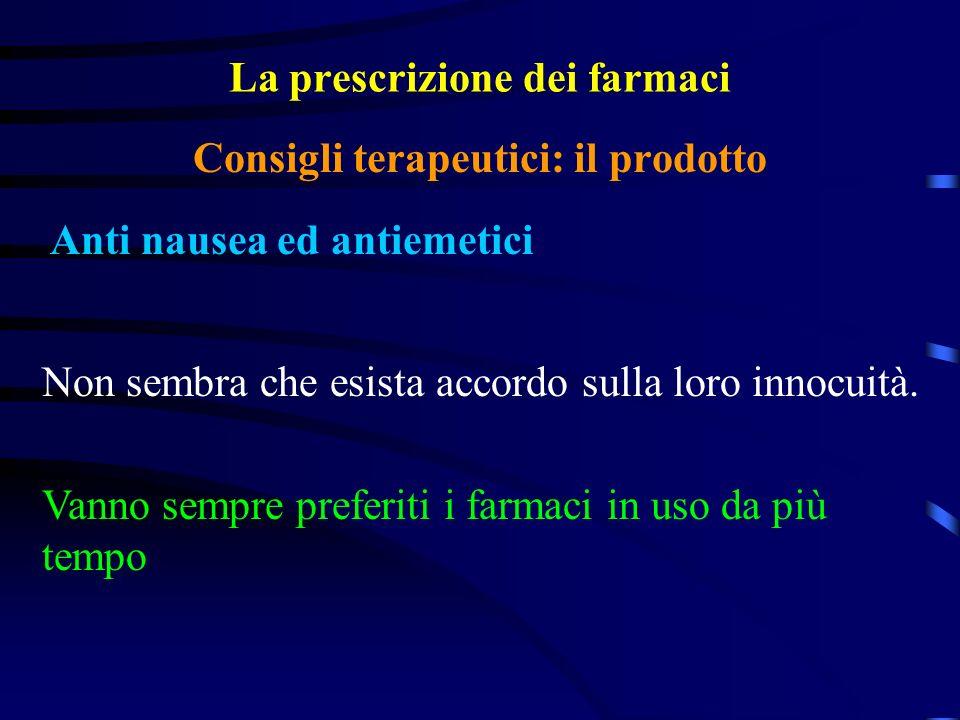 La prescrizione dei farmaci Anti nausea ed antiemetici Consigli terapeutici: il prodotto Non sembra che esista accordo sulla loro innocuità.