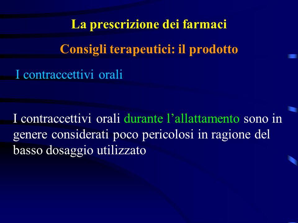 La prescrizione dei farmaci I contraccettivi orali Consigli terapeutici: il prodotto I contraccettivi orali durante lallattamento sono in genere considerati poco pericolosi in ragione del basso dosaggio utilizzato