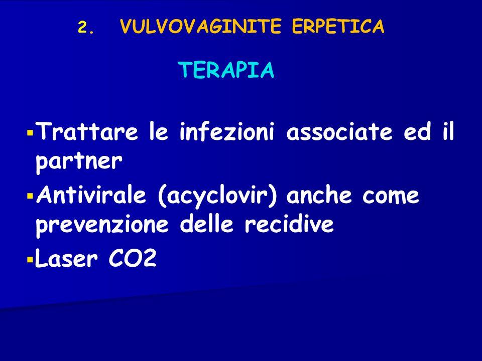 TERAPIA 2. VULVOVAGINITE ERPETICA Trattare le infezioni associate ed il partner Antivirale (acyclovir) anche come prevenzione delle recidive Laser CO2