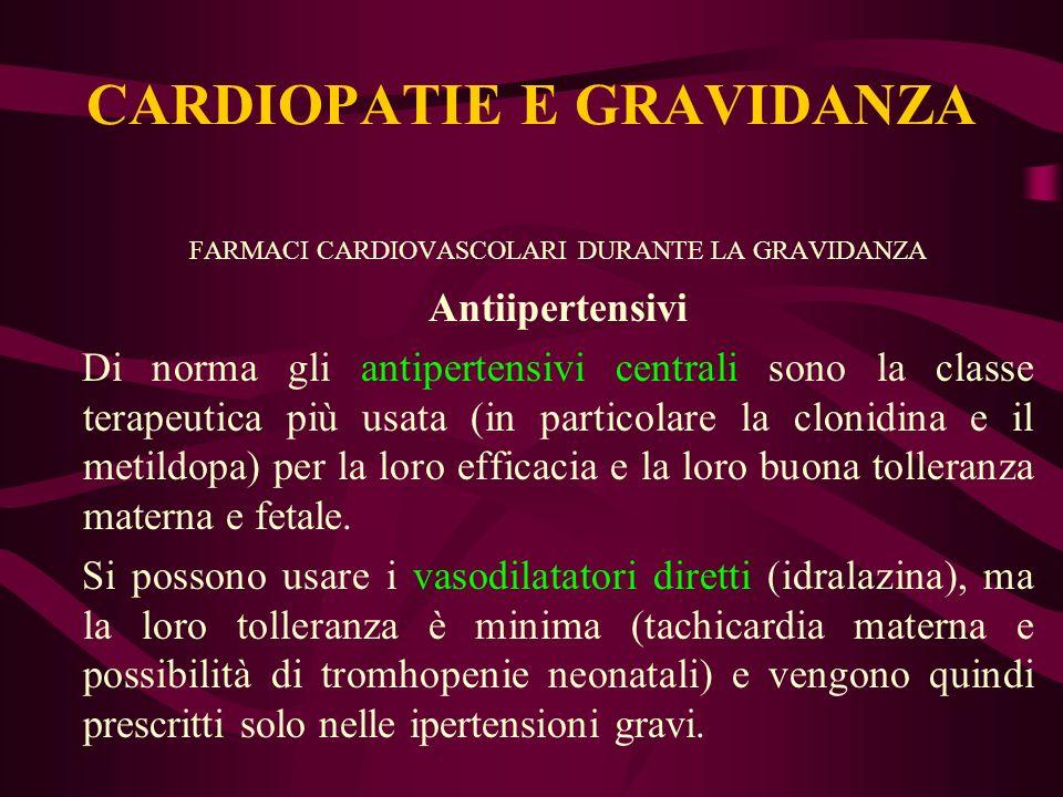 FARMACI CARDIOVASCOLARI DURANTE LA GRAVIDANZA Antiipertensivi Di norma gli antipertensivi centrali sono la classe terapeutica più usata (in particolar