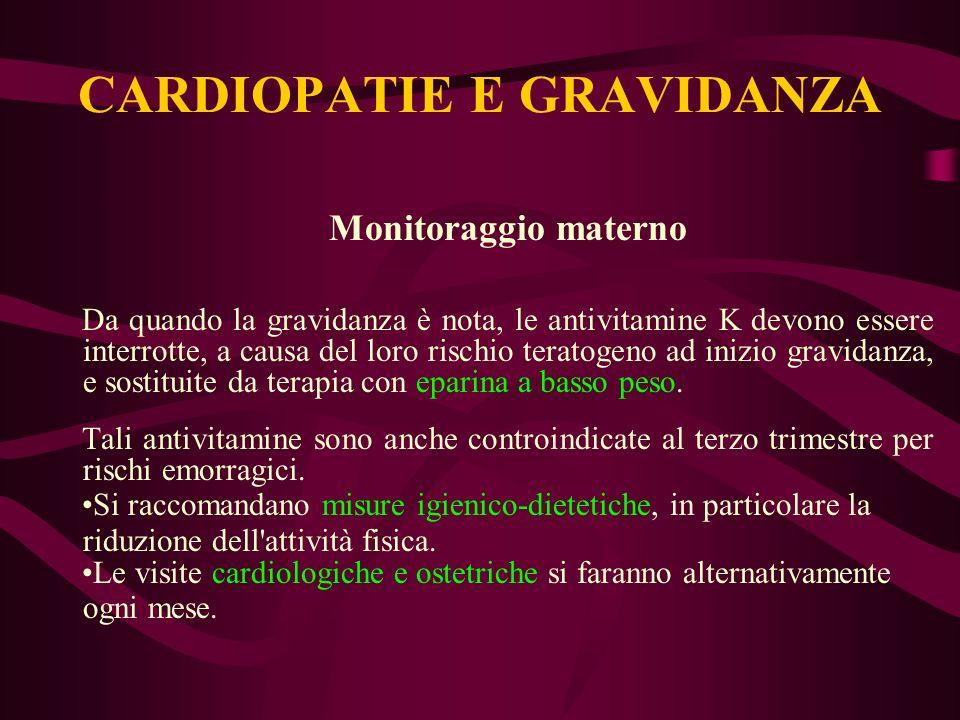 Monitoraggio materno Da quando la gravidanza è nota, le antivitamine K devono essere interrotte, a causa del loro rischio teratogeno ad inizio gravida
