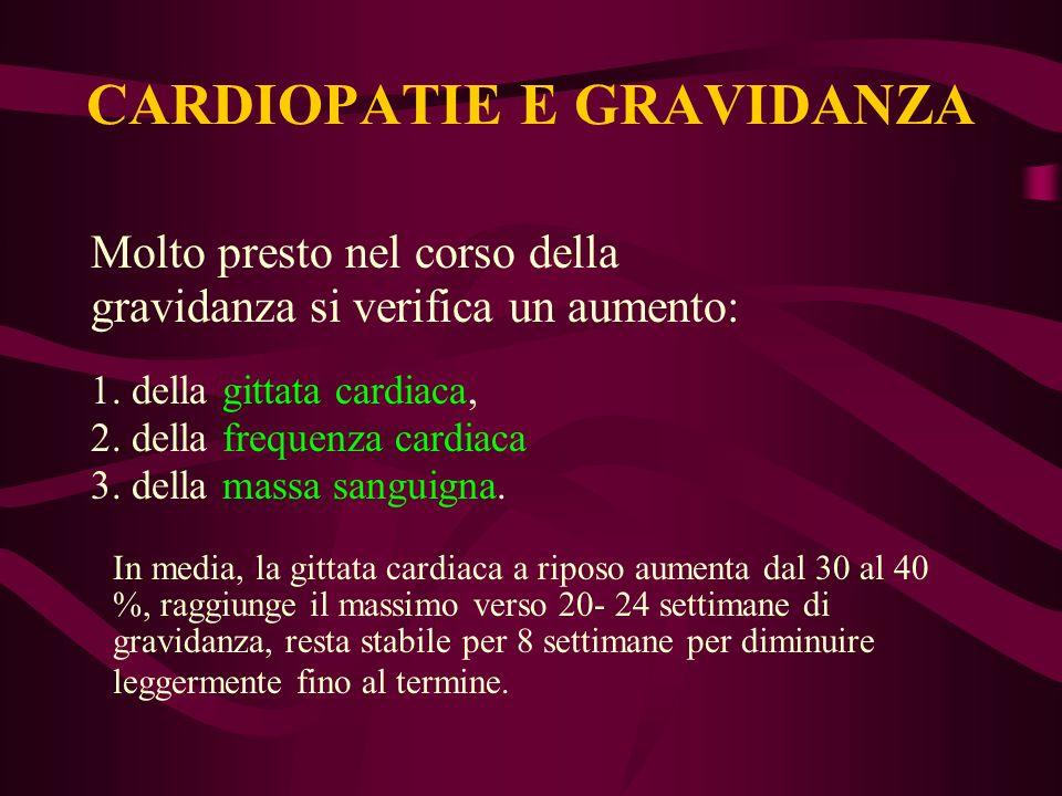 Molto presto nel corso della gravidanza si verifica un aumento: 1. della gittata cardiaca, 2. della frequenza cardiaca 3. della massa sanguigna. In me