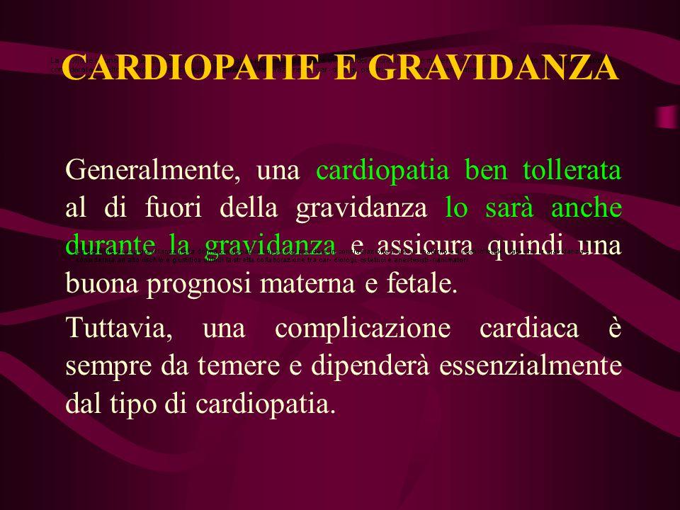 Generalmente, una cardiopatia ben tollerata al di fuori della gravidanza lo sarà anche durante la gravidanza e assicura quindi una buona prognosi mate