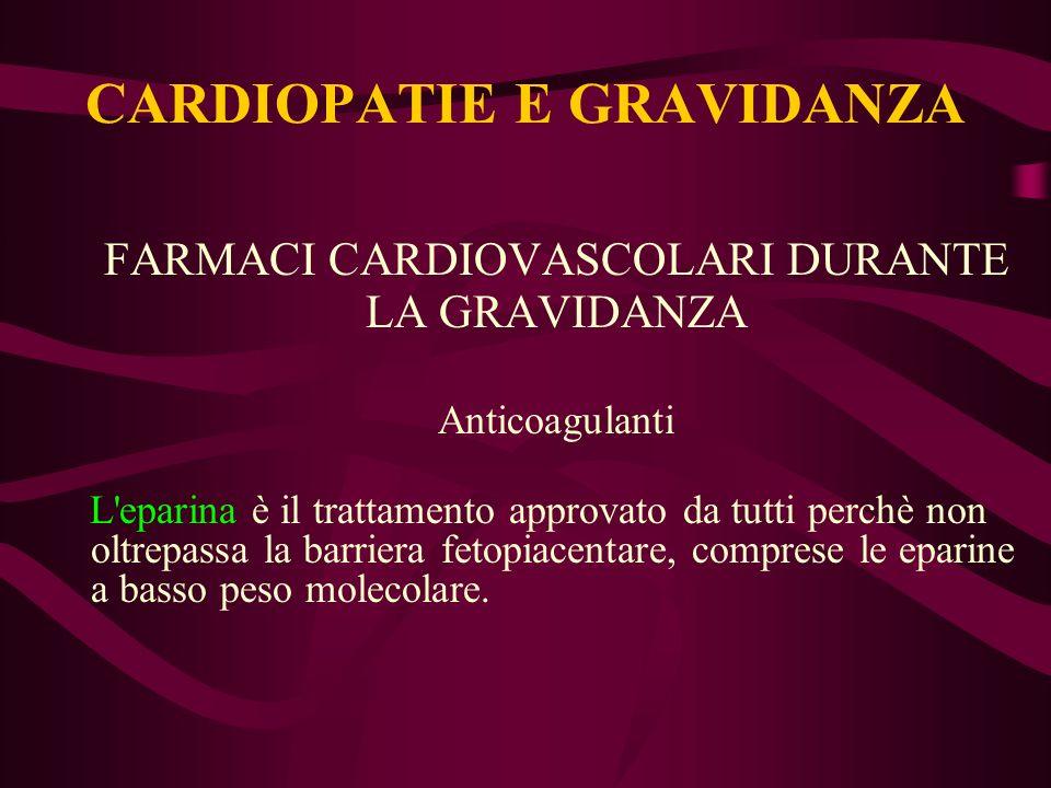 FARMACI CARDIOVASCOLARI DURANTE LA GRAVIDANZA Anticoagulanti L'eparina è il trattamento approvato da tutti perchè non oltrepassa la barriera fetopiace