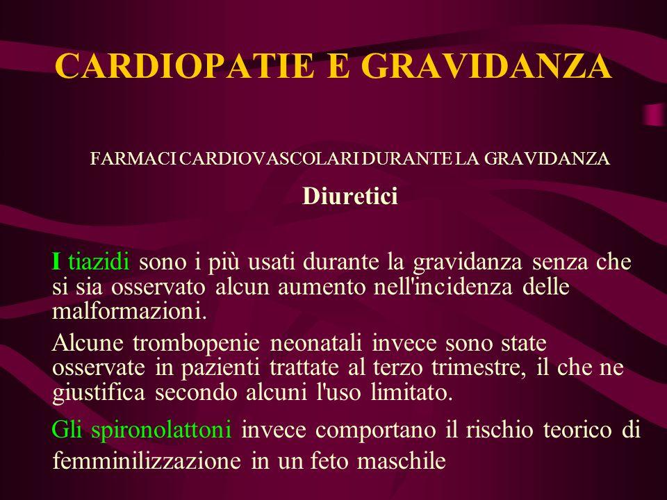 FARMACI CARDIOVASCOLARI DURANTE LA GRAVIDANZA Diuretici I tiazidi sono i più usati durante la gravidanza senza che si sia osservato alcun aumento nell