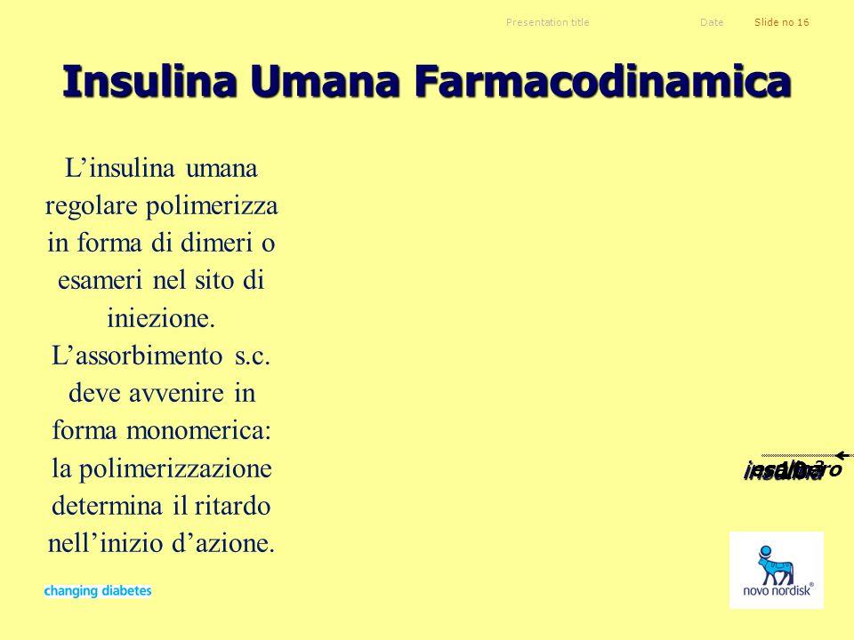 Presentation titleSlide no 16Date Insulina Umana Farmacodinamica insulina Sangue Capillare Sottocute 10 -3 10 -5 10 -4 esamerodimeromonomero 10 -8 Lin