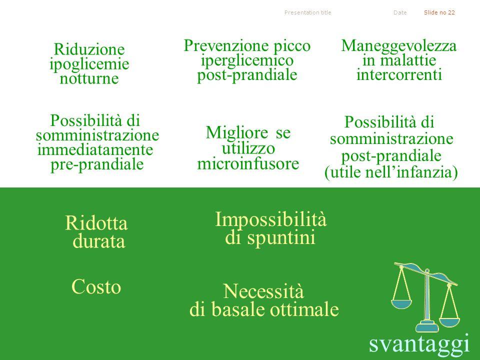 Presentation titleSlide no 22Date Possibilità di somministrazione immediatamente pre-prandiale L. Garcia et al. Treatment with the insulin analogue li