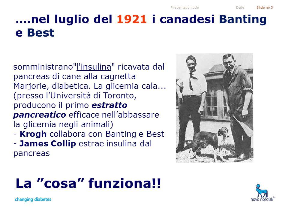 Presentation titleSlide no 3Date ….nel luglio del 1921 i canadesi Banting e Best La cosa funziona!! somministrano
