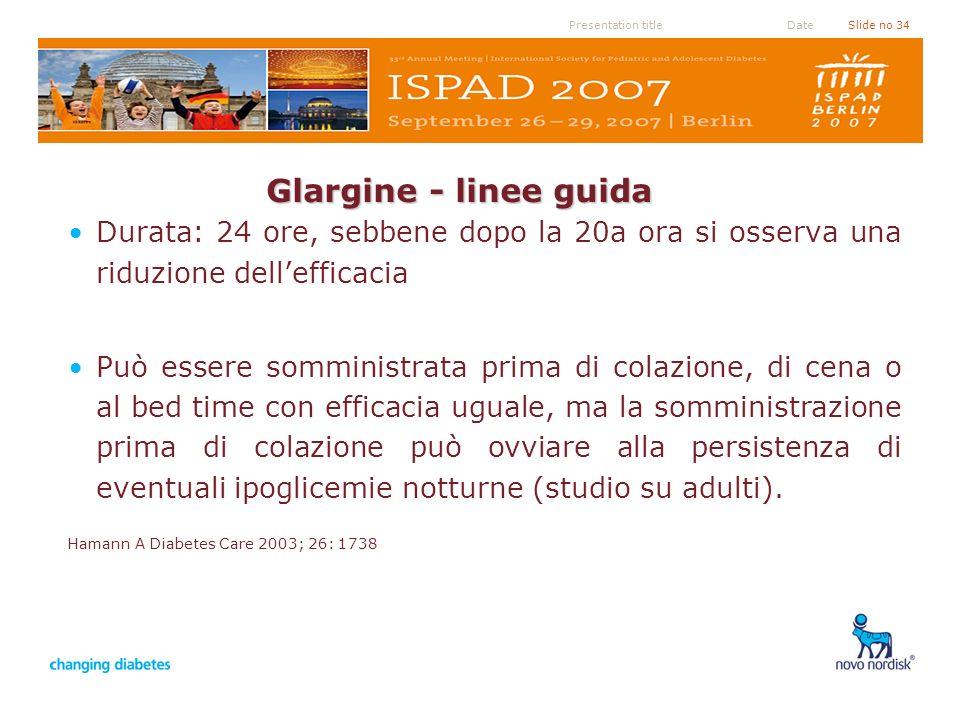 Presentation titleSlide no 34Date Glargine - linee guida Durata: 24 ore, sebbene dopo la 20a ora si osserva una riduzione dellefficacia Può essere som