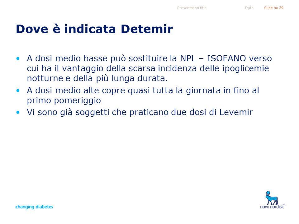 Presentation titleSlide no 39Date Dove è indicata Detemir A dosi medio basse può sostituire la NPL – ISOFANO verso cui ha il vantaggio della scarsa in