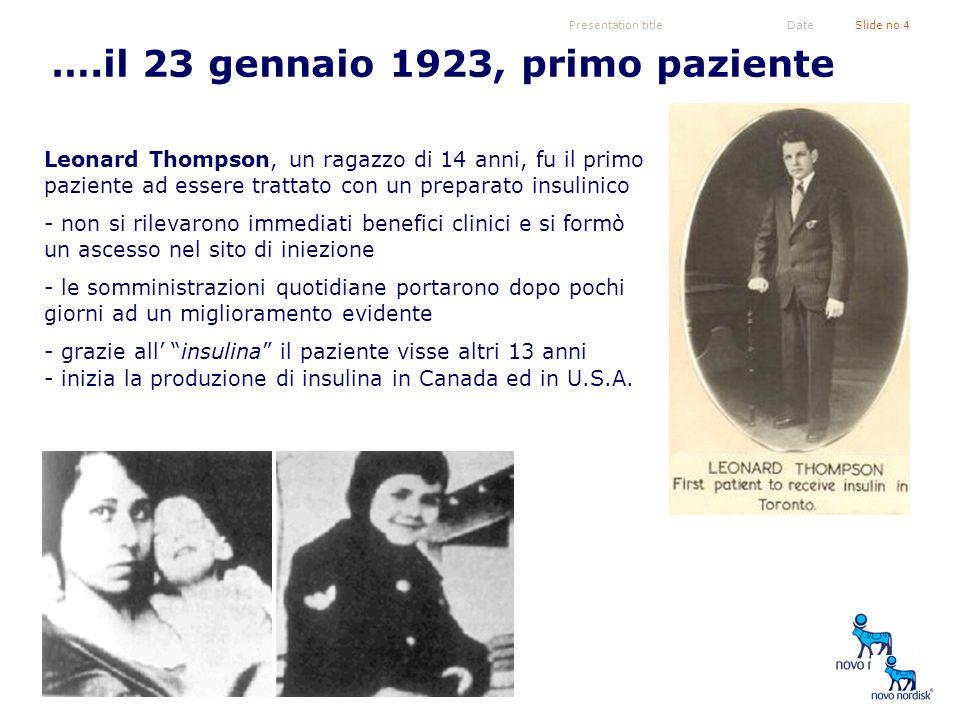 Presentation titleSlide no 4Date Leonard Thompson, un ragazzo di 14 anni, fu il primo paziente ad essere trattato con un preparato insulinico - non si