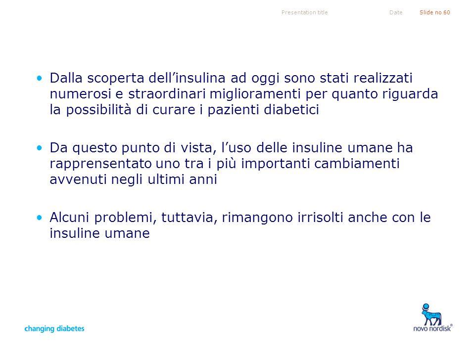 Presentation titleSlide no 60Date Dalla scoperta dellinsulina ad oggi sono stati realizzati numerosi e straordinari miglioramenti per quanto riguarda