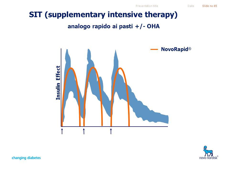 Presentation titleSlide no 65Date SIT (supplementary intensive therapy) analogo rapido ai pasti +/- OHA Insulin Effect NovoRapid ®