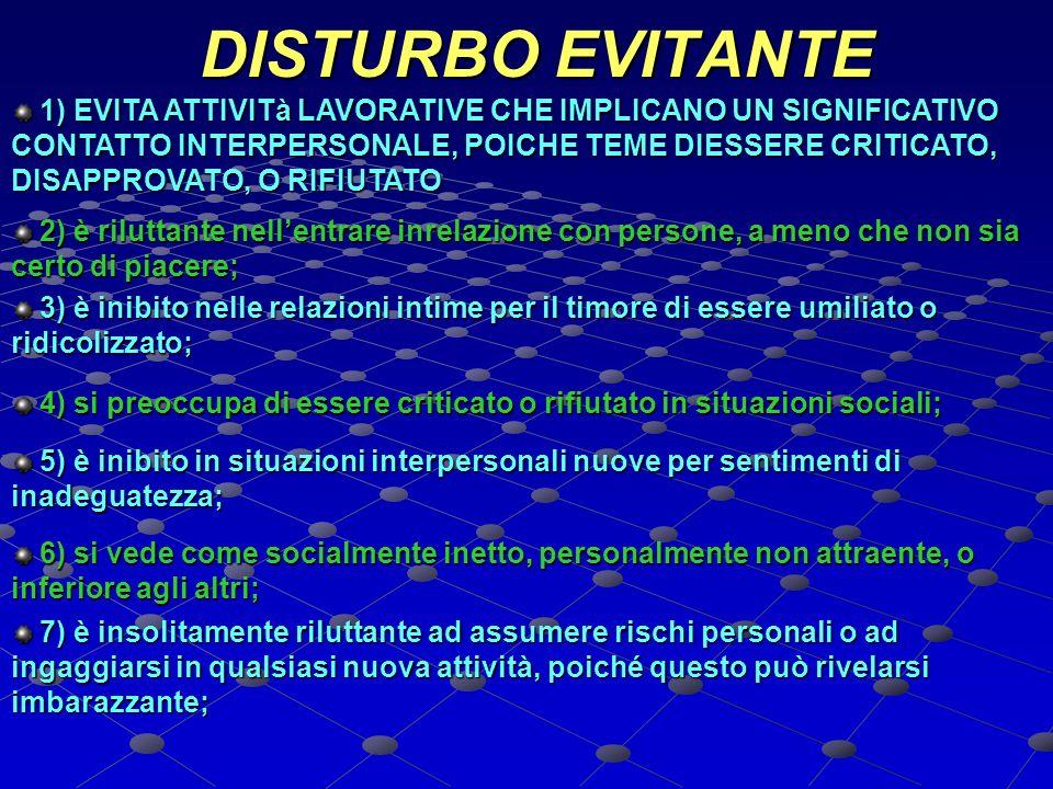 DISTURBO EVITANTE DISTURBO EVITANTE 1) EVITA ATTIVITà LAVORATIVE CHE IMPLICANO UN SIGNIFICATIVO CONTATTO INTERPERSONALE, POICHE TEME DIESSERE CRITICAT