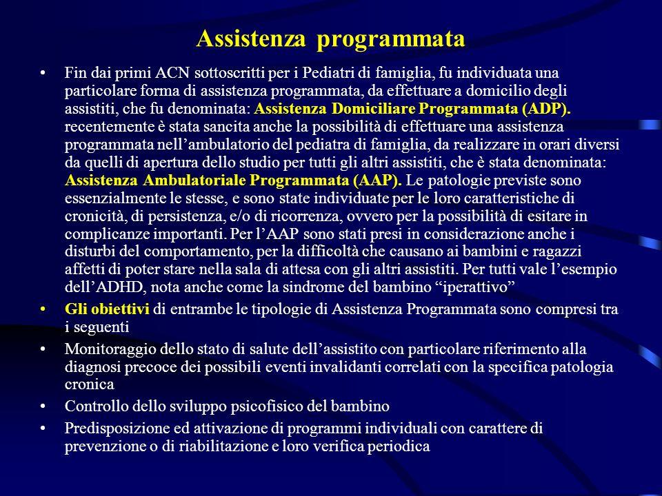 Assistenza programmata Fin dai primi ACN sottoscritti per i Pediatri di famiglia, fu individuata una particolare forma di assistenza programmata, da e