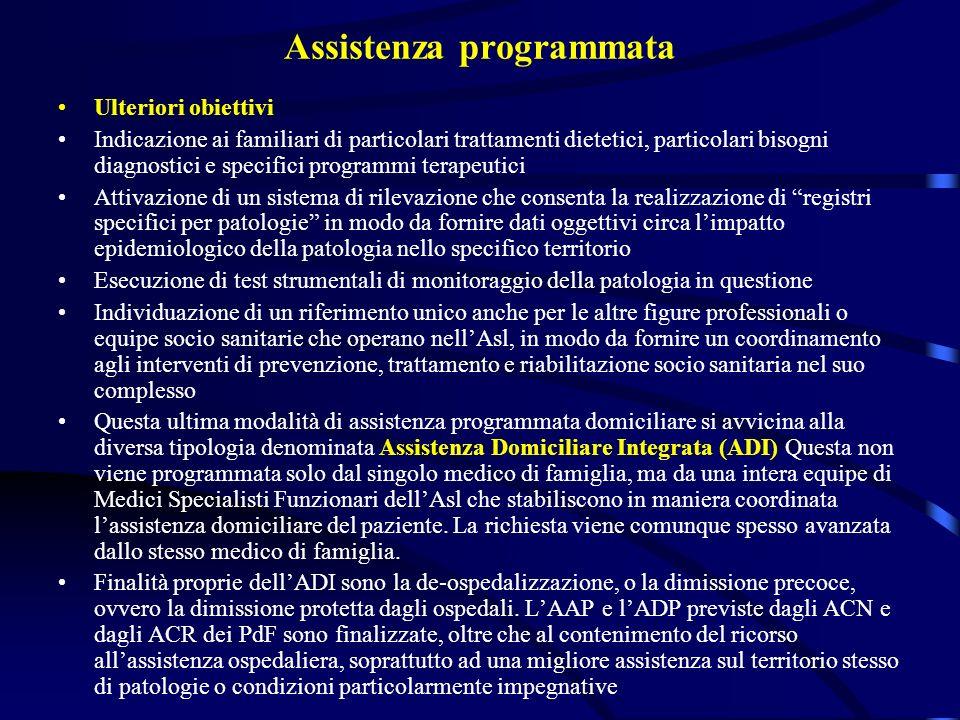 Assistenza programmata Ulteriori obiettivi Indicazione ai familiari di particolari trattamenti dietetici, particolari bisogni diagnostici e specifici