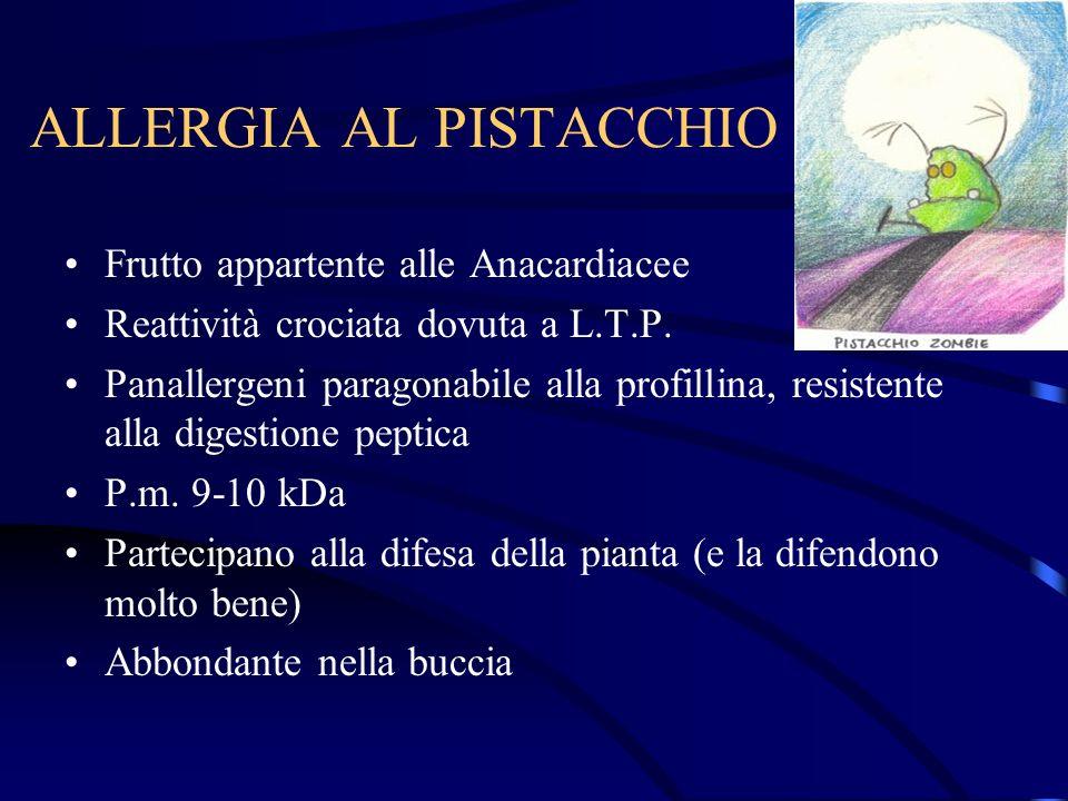 ALLERGIA AL PISTACCHIO Frutto appartente alle Anacardiacee Reattività crociata dovuta a L.T.P. Panallergeni paragonabile alla profillina, resistente a