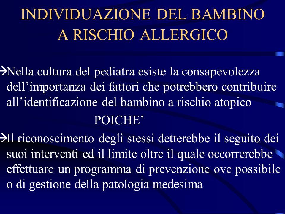INDIVIDUAZIONE DEL BAMBINO A RISCHIO ALLERGICO Nella cultura del pediatra esiste la consapevolezza dellimportanza dei fattori che potrebbero contribui