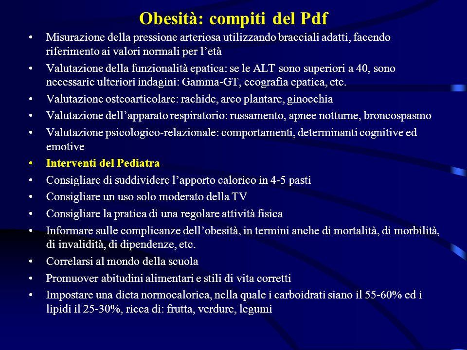 Obesità: compiti del Pdf Misurazione della pressione arteriosa utilizzando bracciali adatti, facendo riferimento ai valori normali per letà Valutazion