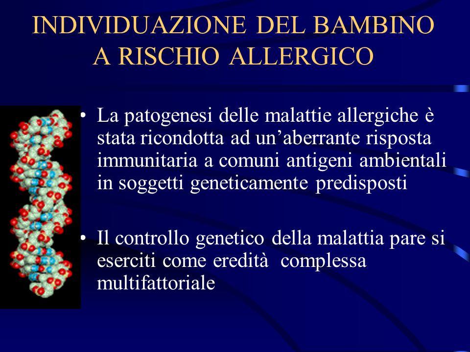 INDIVIDUAZIONE DEL BAMBINO A RISCHIO ALLERGICO La patogenesi delle malattie allergiche è stata ricondotta ad unaberrante risposta immunitaria a comuni