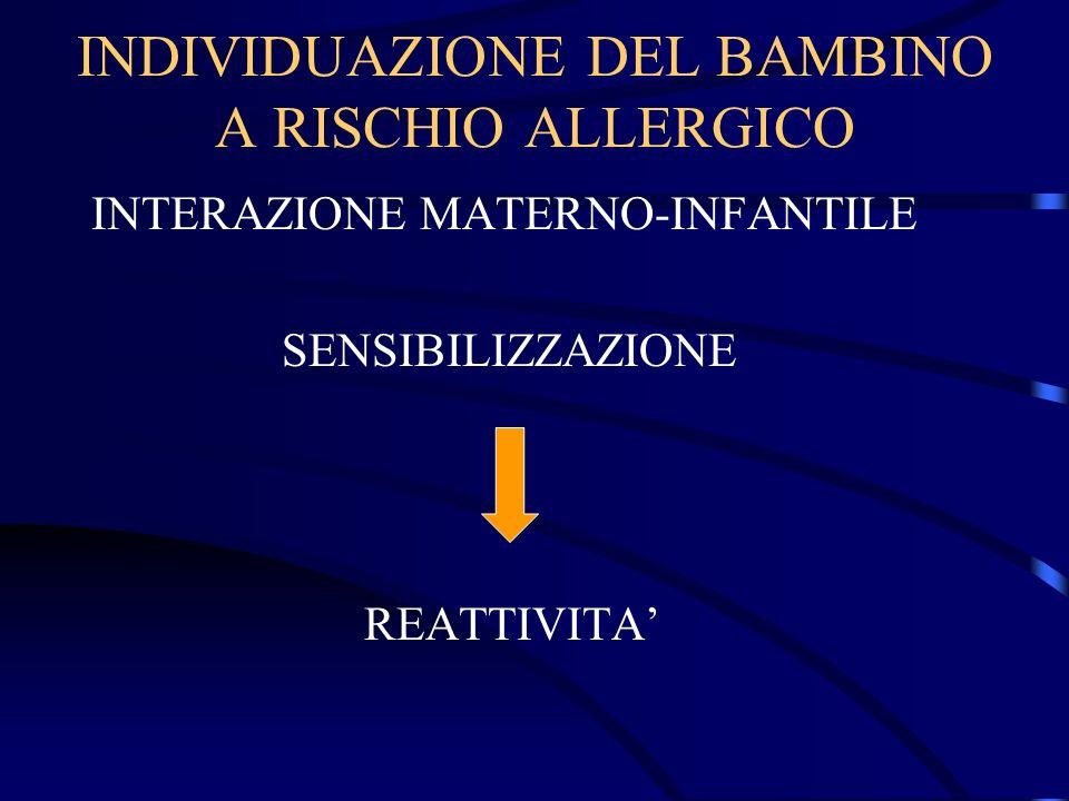 INDIVIDUAZIONE DEL BAMBINO A RISCHIO ALLERGICO INTERAZIONE MATERNO-INFANTILE SENSIBILIZZAZIONE REATTIVITA
