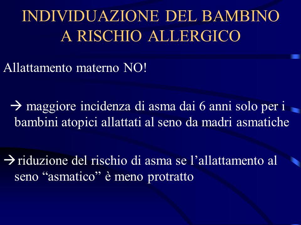 INDIVIDUAZIONE DEL BAMBINO A RISCHIO ALLERGICO Allattamento materno NO! maggiore incidenza di asma dai 6 anni solo per i bambini atopici allattati al