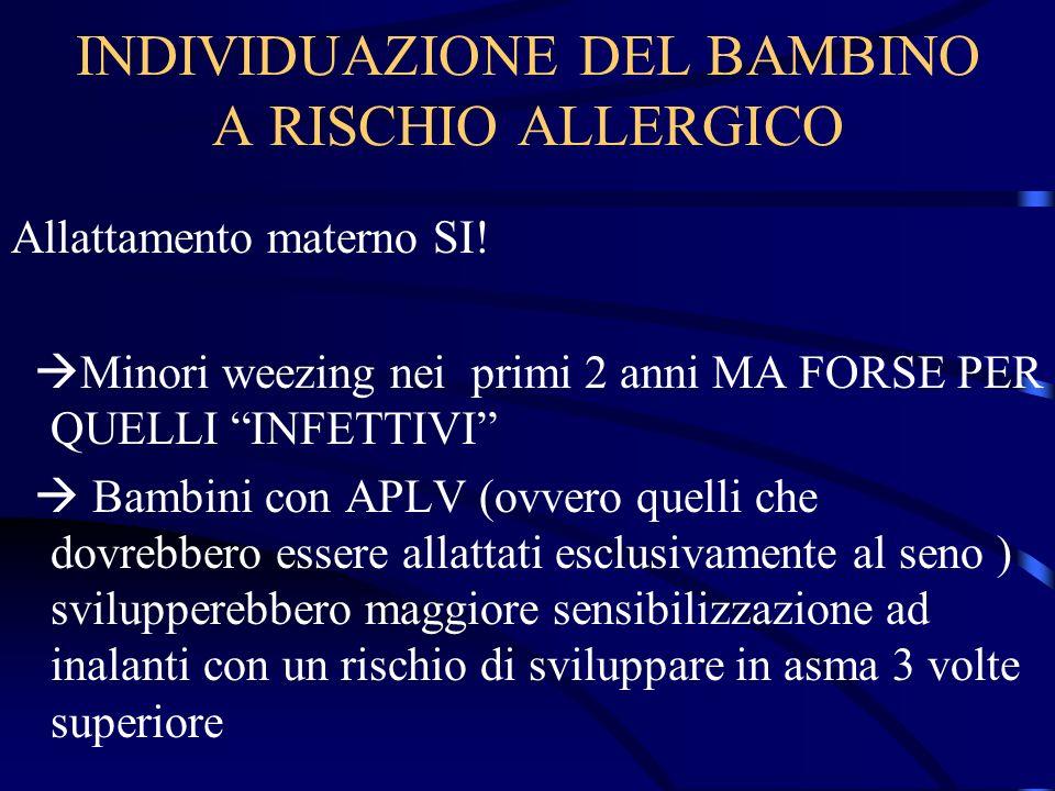 INDIVIDUAZIONE DEL BAMBINO A RISCHIO ALLERGICO Allattamento materno SI! Minori weezing nei primi 2 anni MA FORSE PER QUELLI INFETTIVI Bambini con APLV