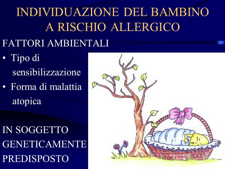 INDIVIDUAZIONE DEL BAMBINO A RISCHIO ALLERGICO FATTORI AMBIENTALI Tipo di sensibilizzazione Forma di malattia atopica IN SOGGETTO GENETICAMENTE PREDIS