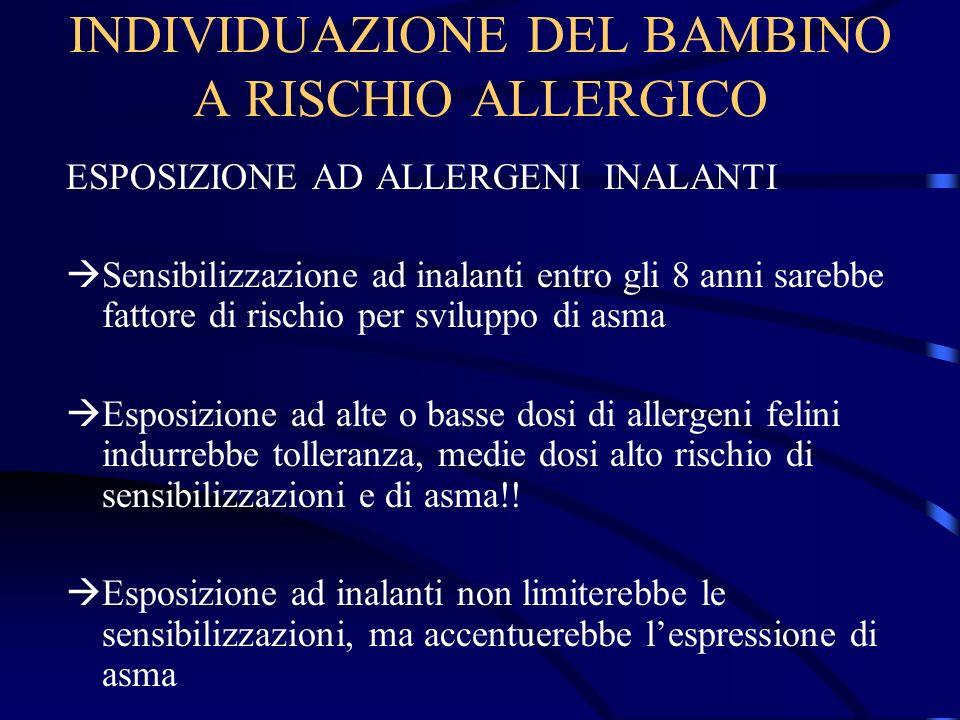 INDIVIDUAZIONE DEL BAMBINO A RISCHIO ALLERGICO ESPOSIZIONE AD ALLERGENI INALANTI Sensibilizzazione ad inalanti entro gli 8 anni sarebbe fattore di ris