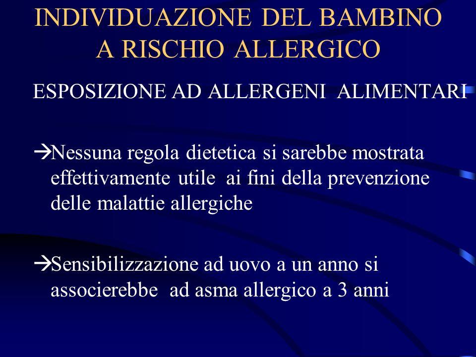 INDIVIDUAZIONE DEL BAMBINO A RISCHIO ALLERGICO ESPOSIZIONE AD ALLERGENI ALIMENTARI Nessuna regola dietetica si sarebbe mostrata effettivamente utile a