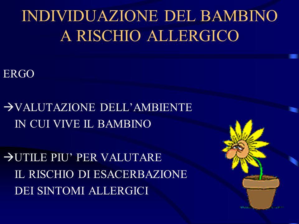 INDIVIDUAZIONE DEL BAMBINO A RISCHIO ALLERGICO ERGO VALUTAZIONE DELLAMBIENTE IN CUI VIVE IL BAMBINO UTILE PIU PER VALUTARE IL RISCHIO DI ESACERBAZIONE