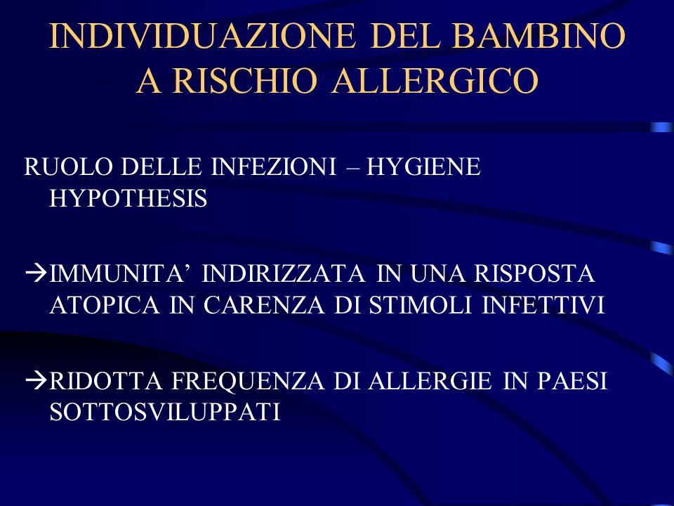 INDIVIDUAZIONE DEL BAMBINO A RISCHIO ALLERGICO RUOLO DELLE INFEZIONI – HYGIENE HYPOTHESIS IMMUNITA INDIRIZZATA IN UNA RISPOSTA ATOPICA IN CARENZA DI S