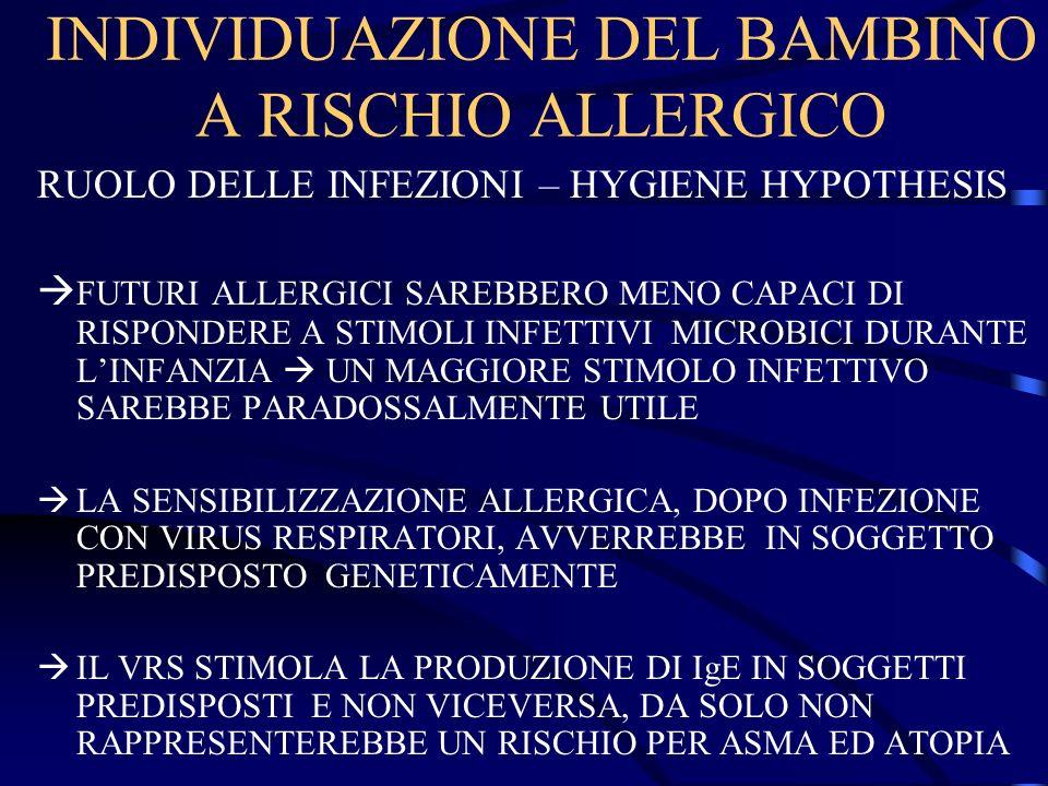 INDIVIDUAZIONE DEL BAMBINO A RISCHIO ALLERGICO RUOLO DELLE INFEZIONI – HYGIENE HYPOTHESIS FUTURI ALLERGICI SAREBBERO MENO CAPACI DI RISPONDERE A STIMO