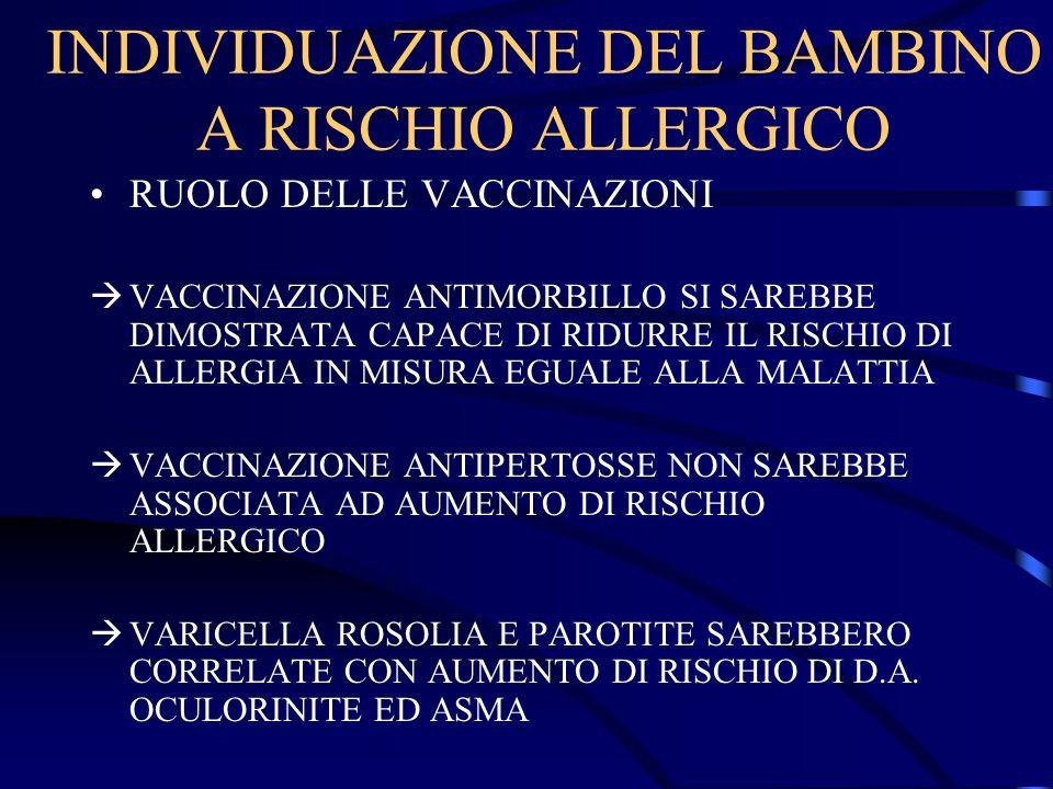 INDIVIDUAZIONE DEL BAMBINO A RISCHIO ALLERGICO RUOLO DELLE VACCINAZIONI VACCINAZIONE ANTIMORBILLO SI SAREBBE DIMOSTRATA CAPACE DI RIDURRE IL RISCHIO D