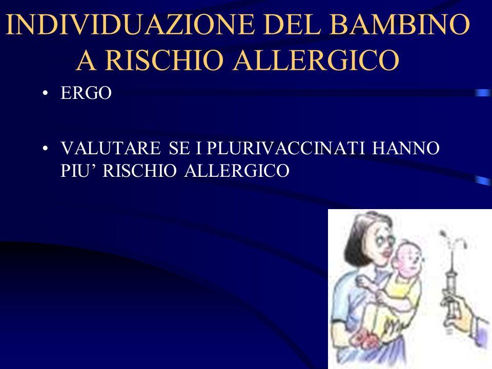 INDIVIDUAZIONE DEL BAMBINO A RISCHIO ALLERGICO ERGO VALUTARE SE I PLURIVACCINATI HANNO PIU RISCHIO ALLERGICO