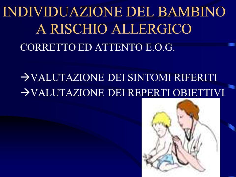 INDIVIDUAZIONE DEL BAMBINO A RISCHIO ALLERGICO CORRETTO ED ATTENTO E.O.G. VALUTAZIONE DEI SINTOMI RIFERITI VALUTAZIONE DEI REPERTI OBIETTIVI