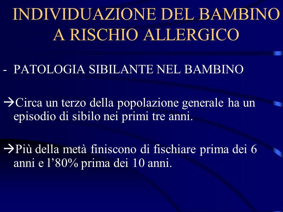 INDIVIDUAZIONE DEL BAMBINO A RISCHIO ALLERGICO -PATOLOGIA SIBILANTE NEL BAMBINO Circa un terzo della popolazione generale ha un episodio di sibilo nei