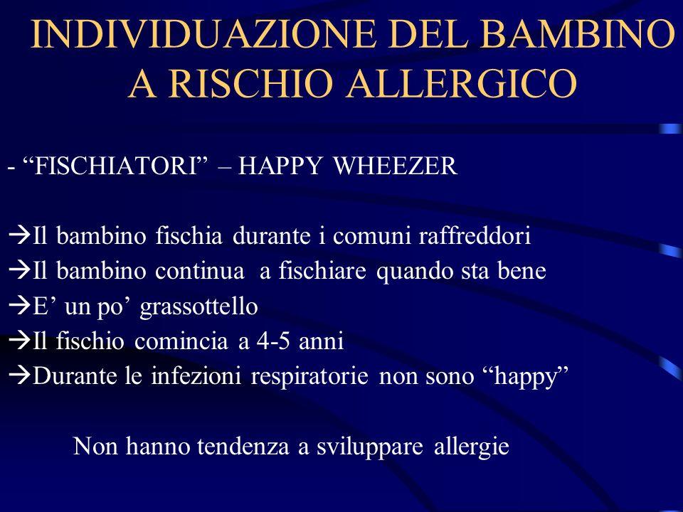 INDIVIDUAZIONE DEL BAMBINO A RISCHIO ALLERGICO - FISCHIATORI – HAPPY WHEEZER Il bambino fischia durante i comuni raffreddori Il bambino continua a fis