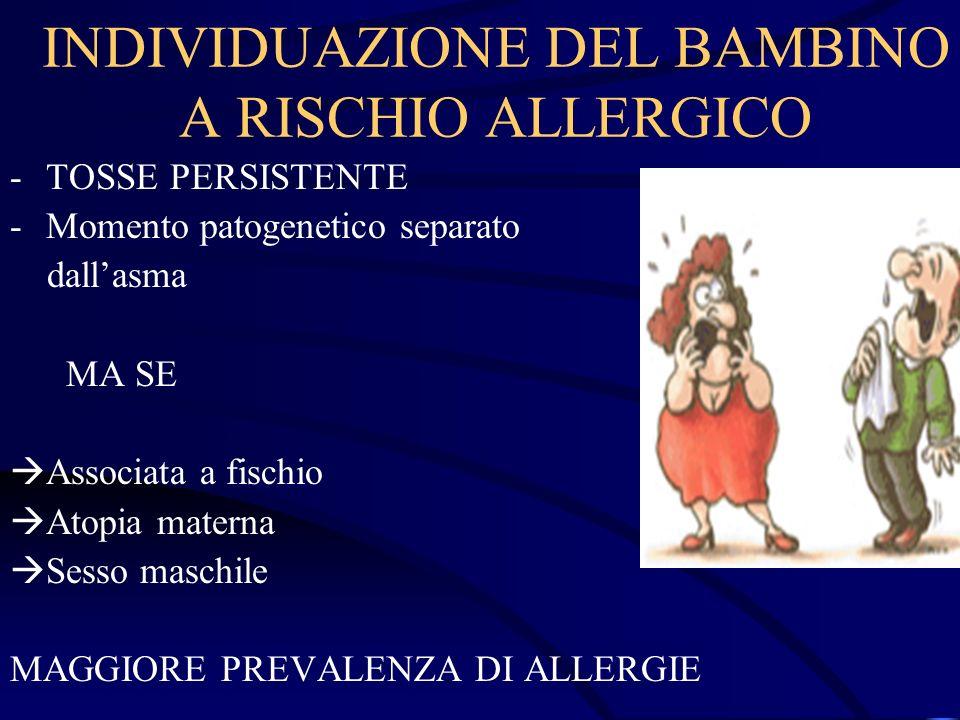 INDIVIDUAZIONE DEL BAMBINO A RISCHIO ALLERGICO -TOSSE PERSISTENTE -Momento patogenetico separato dallasma MA SE Associata a fischio Atopia materna Ses