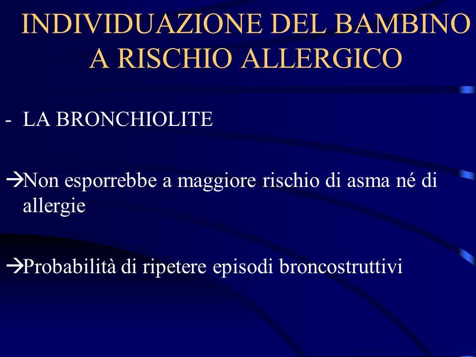 INDIVIDUAZIONE DEL BAMBINO A RISCHIO ALLERGICO -LA BRONCHIOLITE Non esporrebbe a maggiore rischio di asma né di allergie Probabilità di ripetere episo