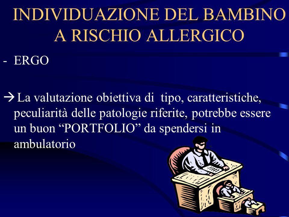 INDIVIDUAZIONE DEL BAMBINO A RISCHIO ALLERGICO -ERGO La valutazione obiettiva di tipo, caratteristiche, peculiarità delle patologie riferite, potrebbe