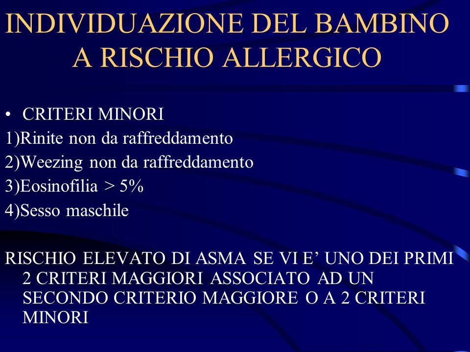 INDIVIDUAZIONE DEL BAMBINO A RISCHIO ALLERGICO CRITERI MINORI 1)Rinite non da raffreddamento 2)Weezing non da raffreddamento 3)Eosinofilia > 5% 4)Sess