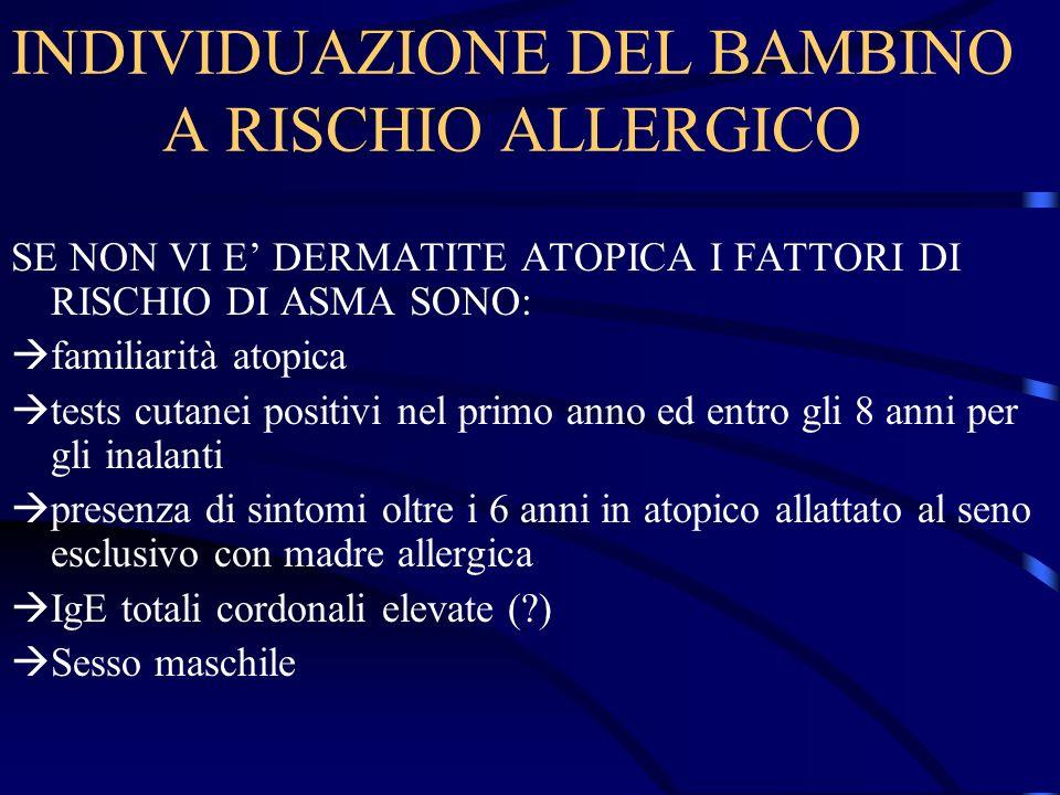 INDIVIDUAZIONE DEL BAMBINO A RISCHIO ALLERGICO SE NON VI E DERMATITE ATOPICA I FATTORI DI RISCHIO DI ASMA SONO: familiarità atopica tests cutanei posi